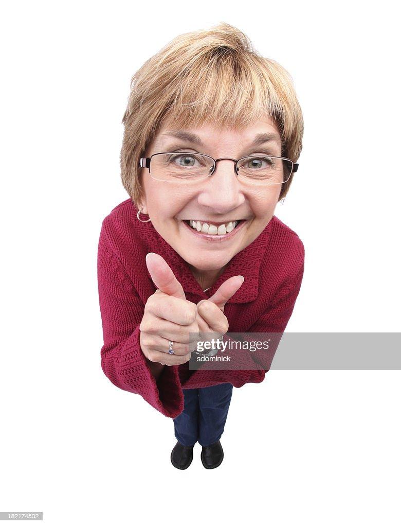 Excité femme avec Bravo! : Photo