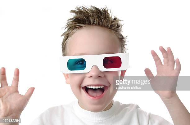 Excited Young Boy with 3D Glasses on a White Background