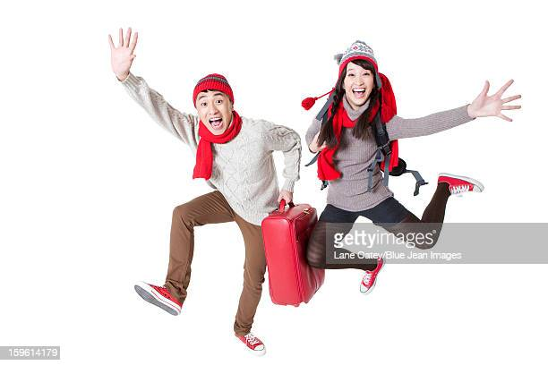 Excited young couple on a trip in Chinese New Year
