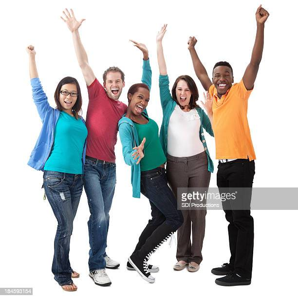 Excited young group with hands in the air
