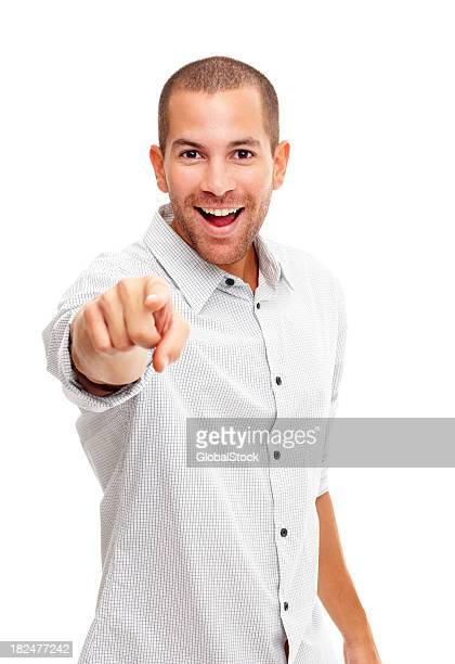 Excited young man pointing at you