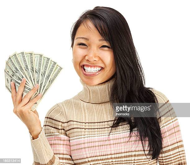 Excited Young Woman Asian Holding Cash Money