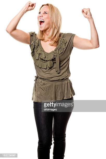 Excited Young Woman Cheering