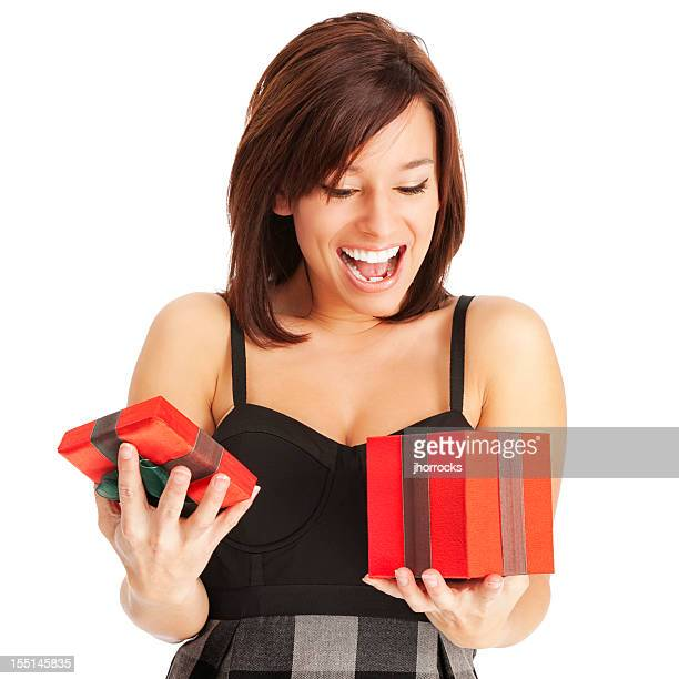 Excited Young Woman Opening Red Gift Box