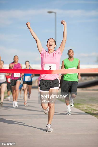 Excitedly Crossing the Finish Line