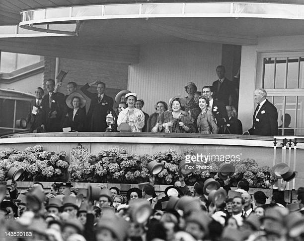 Excitement in the royal box as the Queen's horse Choirboy wins the Royal Hunt Cup at Ascot 17th June 1953 Queen Elizabeth II is accompanied by the...