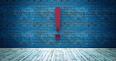 Exclamation mark symbol on blue brick wall