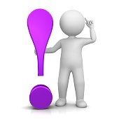 exclamation point exclamation mark purple lila violet 3d with stick man pointing to head idea gesture think pose isolated on white