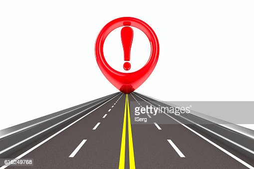 Exclamation sign on road. Isolated 3D image : Foto de stock