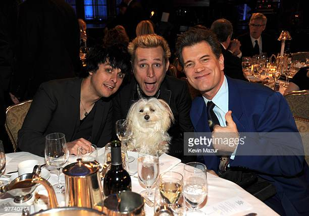 NEW YORK MARCH 15 *Exclusive* Billie Joe Armstrong Mike Dirnt of Green Day and Chris Isaak attends the 25th Annual Rock and Roll Hall of Fame...