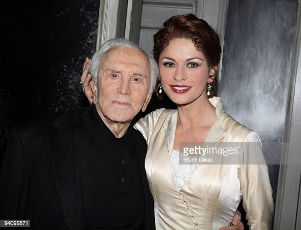 *Exclusive Coverage* Kirk Douglas and his daughter inlaw Catherine Zeta Jones pose backstage at 'A Little Night Music' on Broadway at The Walter Kerr...