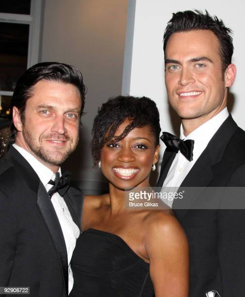 *Exclusive Coverage* Raul Esparza Montego Glover and Cheyenne Jackson pose at the Stage Directors And Choreographers Society 50 Year Celebration at...