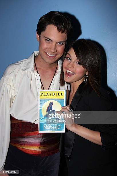 *Exclusive Coverage* Selena Gomez and Drew Seeley pose backstage at 'The Little Mermaid' on Broadway at The LuntFontanne Theater on June 23 2009 in...