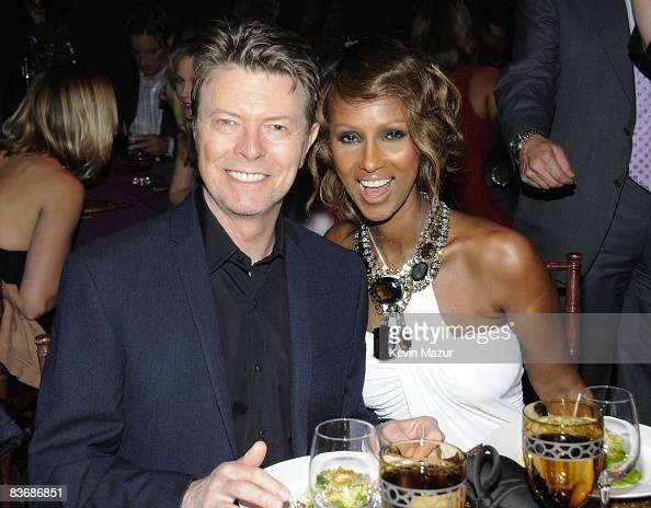 NEW YORK NOVEMBER 13 *Exclusive* David Bowie and Iman inside Keep A Child Alive's 5th annual Black Ball at Hammerstein Ballroom on November 13 2008...