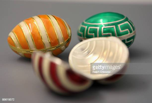 Exclusive Easter eggs made of silver are arranged at the Silber Studio on March 26 2009 in Frankfurt am Main Germany Two weeks before Easter Sunday...