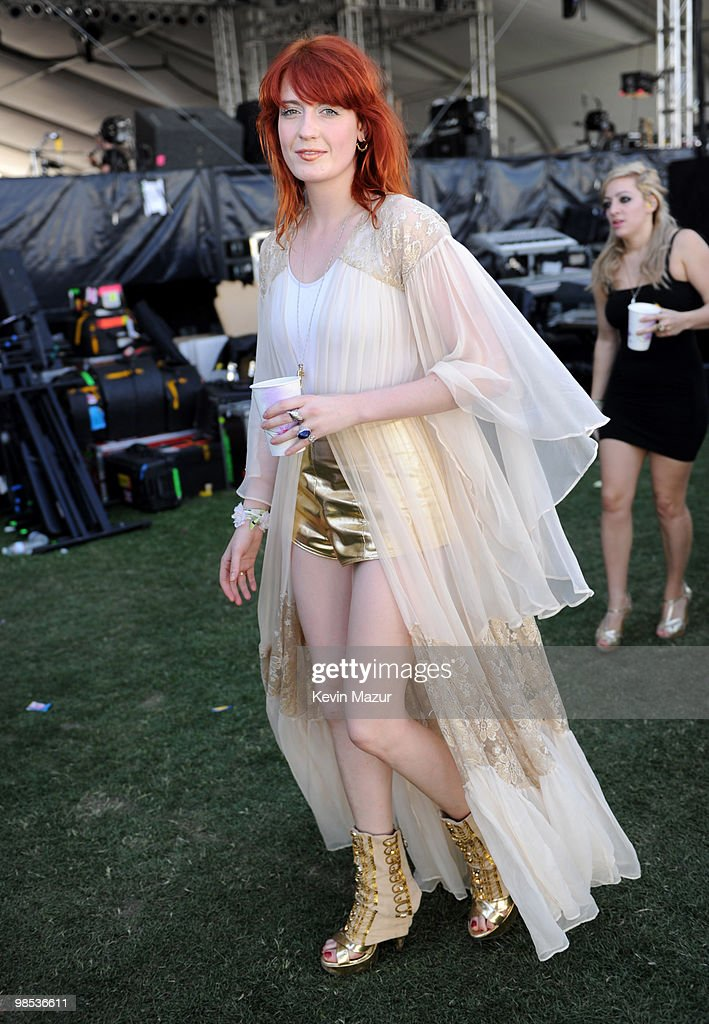 *Exclusive* Florence Welch of Florence and the Machine backstage before she performs during the Day 3 of the Coachella Valley Music & Arts Festival 2010 at the Empire Polo Field on April 18, 2010 in Indio, California.
