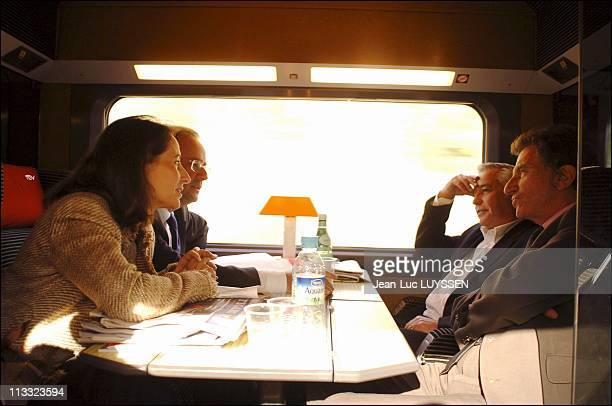 Exclusive Francois Hollande Segolene Royal Francois Rebsamen And Jack Lang On The Train Going To The Congress Of The Socialist Party To The Mans On...