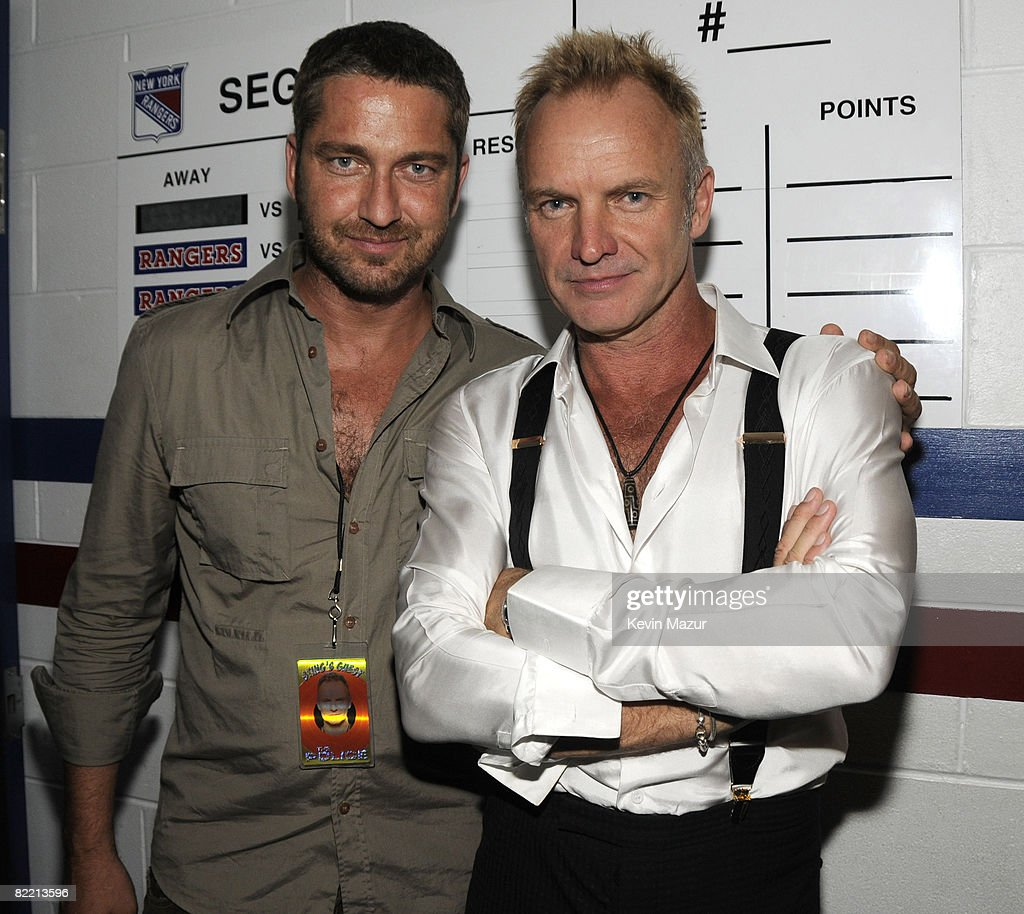 NEW YORK AUGUST 07 *Exclusive* Gerard Butler and Sting backstage at The Police Concert to Benefit Thirteen/WNET WLIW21 at Madison Square Garden on...