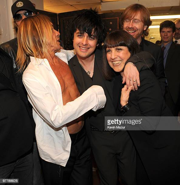 NEW YORK MARCH 15 *Exclusive* Iggy Pop Billie Joe Armstrong of Green Day and Lisa Robinson attends the 25th Annual Rock and Roll Hall of Fame...