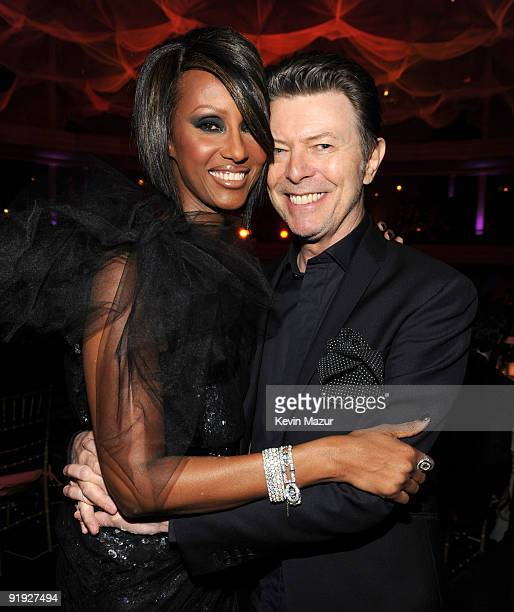 NEW YORK OCTOBER 15 *Exclusive* Iman and David Bowie at Hammerstein Ballroom during Keep A Child Alive's 6th Annual Black Ball hosted by Alicia Keys...