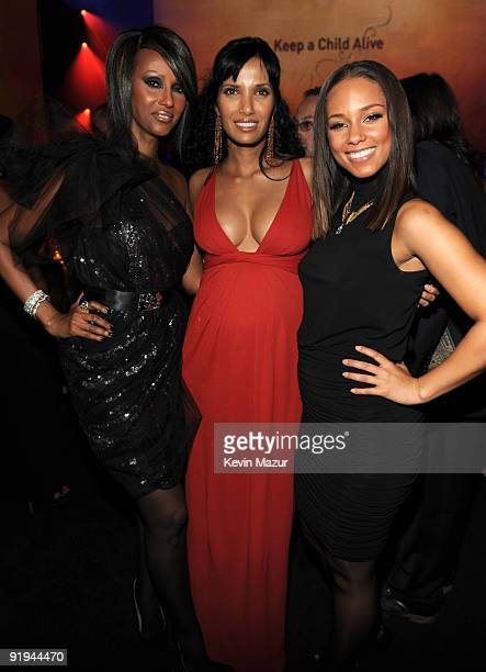 NEW YORK OCTOBER 15 *Exclusive* Iman Padma Lakshmi and Alicia Keys at Hammerstein Ballroom during Keep A Child Alive's 6th Annual Black Ball hosted...