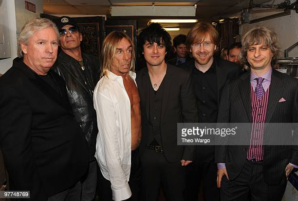 NEW YORK MARCH 15 *Exclusive* Inductees James Williamson Scott Asheton Iggy Pop of The Stooges with Billie Joe Armstrong Trey Anastasio and Mike...