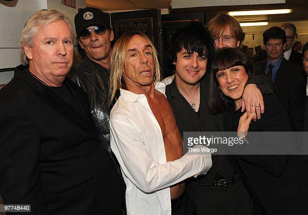 NEW YORK MARCH 15 *Exclusive* Inductees James Williamson Scott Asheton Iggy Pop with Billie Joe Armstrong and Trey Anastasio attend the 25th Annual...