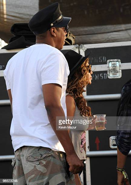 INDIO CA APRIL 16 *Exclusive* JayZ and Beyonce watch She Him backstage during Day 1 of the Coachella Valley Music Arts Festival 2010 held at the...