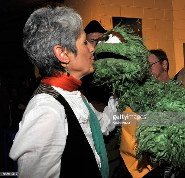 NEW YORK MAY 03 *Exclusive* Joan Baez and Oscar the Grouch backstage at the Clearwater benefit concert celebrating Pete Seeger's 90th birthday at...