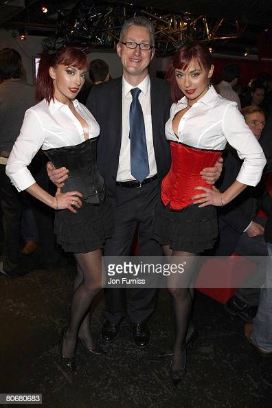 LONDON JANUARY 24 **Exclusive** Lembit Opik with the Cheeky Girls attend the launch of FilmOn on January 24 2008 in London England