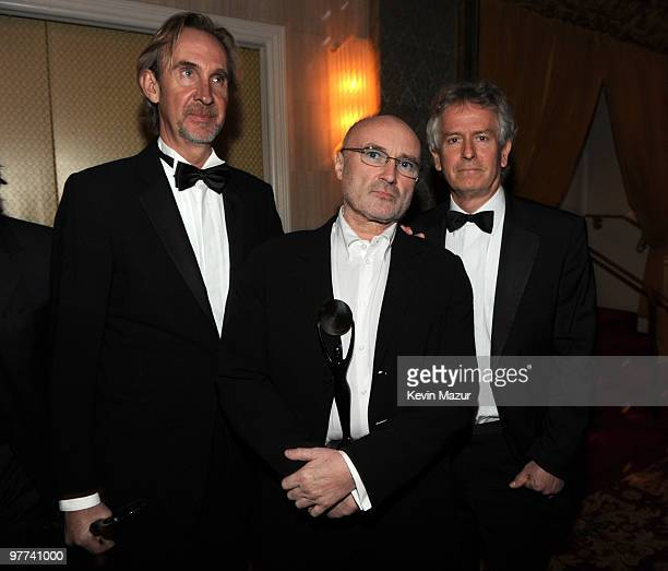 NEW YORK MARCH 15 *Exclusive* Mike Rutherford Phil Collins and Tony Banks of Genesis attends the 25th Annual Rock and Roll Hall of Fame Induction...