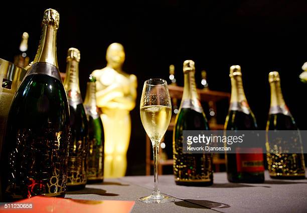 Exclusive Oscar edition champagne by PiperHeidsieck is seenduring the 88th Annual Academy Awards Governors Ball press preview at The Ray Dolby...