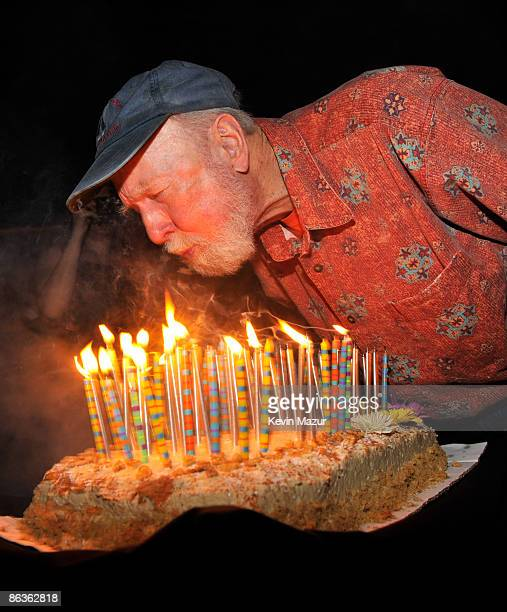 NEW YORK MAY 03 *Exclusive* Pete Seeger blows out his candles at the after party for the Clearwater benefit concert celebrating Pete Seeger's 90th...