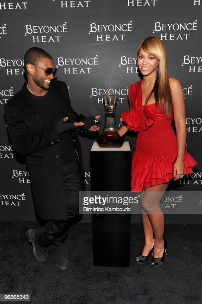 *Exclusive* Singers Usher and Beyonce attends her fragrance launch after party for 'Beyonce Heat' Catch the Fever at 15 Union Square West on February...