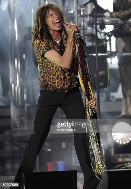 QUEENS NY JULY 18 *Exclusive* Steven Tyler of Aerosmith performs during the 'Last Play at Shea' at Shea Stadium on July 16 2008 in Queens NY