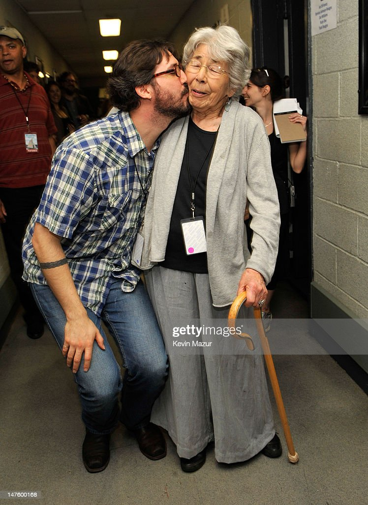 *Exclusive* Tao Rodriguez-Seeger and grandmother Toshi-Aline Ohta backstage at the Clearwater benefit concert celebrating Pete Seeger's 90th birthday at Madison Square Garden on May 3, 2009 in New York City.