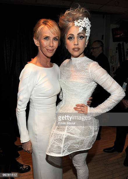 NEW YORK MAY 13 *Exclusive* Trudie Styler and Lady Gaga backstage during the Almay concert to celebrate the Rainforest Fund's 21st birthday at...