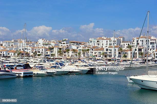 Exclusive yacht harbor of Puerto Banus Marbella Costa del Sol Malaga province Andalusia Spain