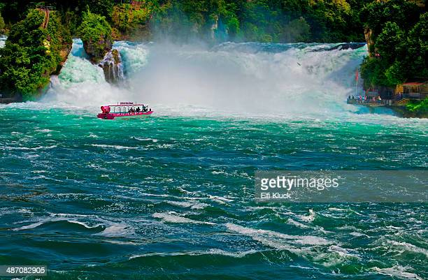 Excursion boat approaches Rhine Falls
