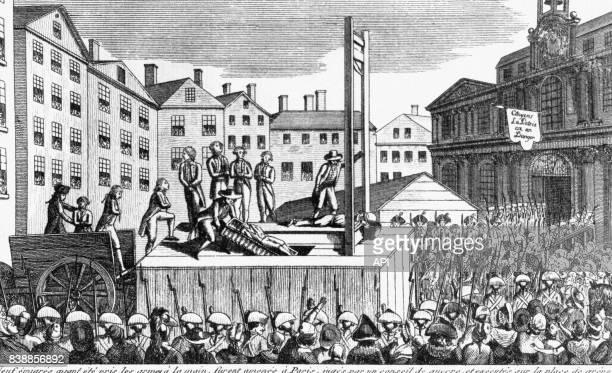 Exécution de neuf immigré sur la place de la Grève en 1792 pendant la Révolution Française à Paris en France