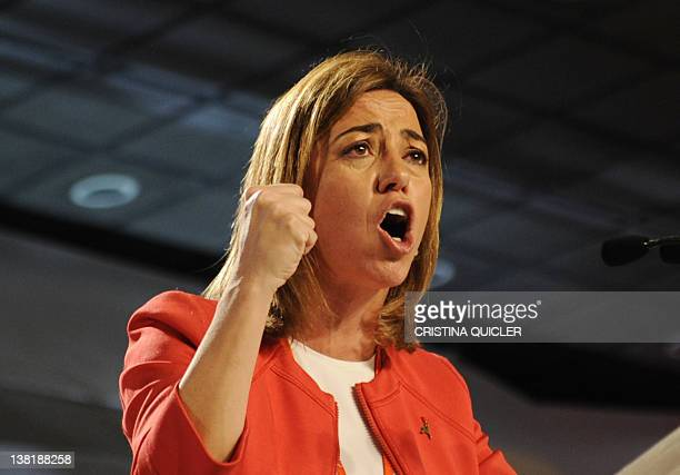 Exdefence minister Carme Chacon a candidate for the leadership of Spain's Socialist Party speaks during a party conference in Sevilla on February 4...