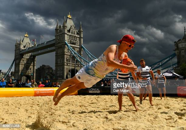 Exe In The City compete against Doom Platoon during day two of the London Beach Rugby 2017 at Potters Field Park on August 5 2017 in London England