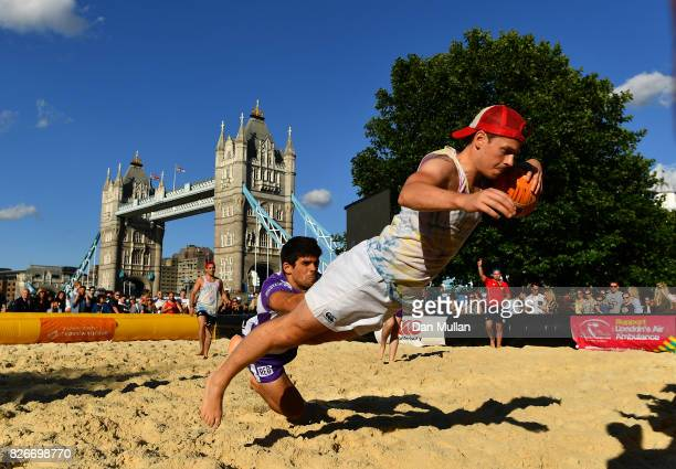 Exe In The City compete against The Law Society during day two of the London Beach Rugby 2017 at Potters Field Park on August 5 2017 in London England