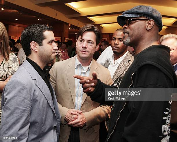 Exec Prod Bradley Fischer journalist JR Moehringer and actor Samuel L Jackson talk at the afterparty for the premiere of Yari Film's 'Resurrecting...