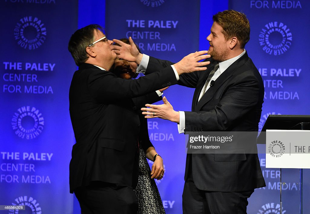 Exec Producer/Creators Robert King and moderator James Corden on stage at The Paley Center For Media's 32nd Annual PALEYFEST LA 'The Good Wife' at...