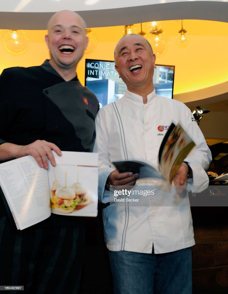 Execturive chef of Nobu Restaurant and Lounge Caesers Palace Thomas Buckley (L) and chef Nobu Matsuhisa appear during a preview for the Nobu Restaurant and Lounge Caesars Palace on February 1, 2013 in Las Vegas, Nevada. The Nobu Hotel Restaurant and Lounge Casears Palace is scheduled to open on February 4.