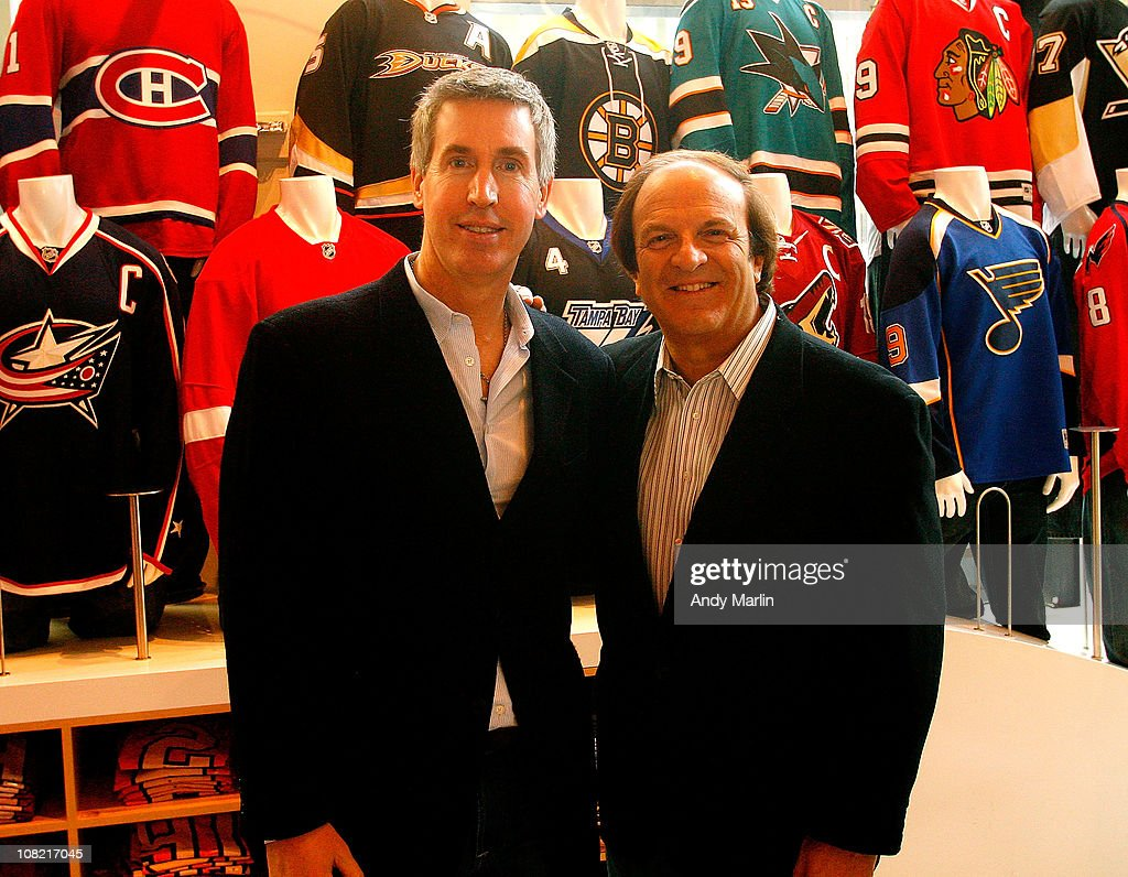 Exectutive VP of Marketing Brian Jennings and Cybex Chief Marketing Officer Larry Gulko pose for a photo during the Cybex/NHL relationship...