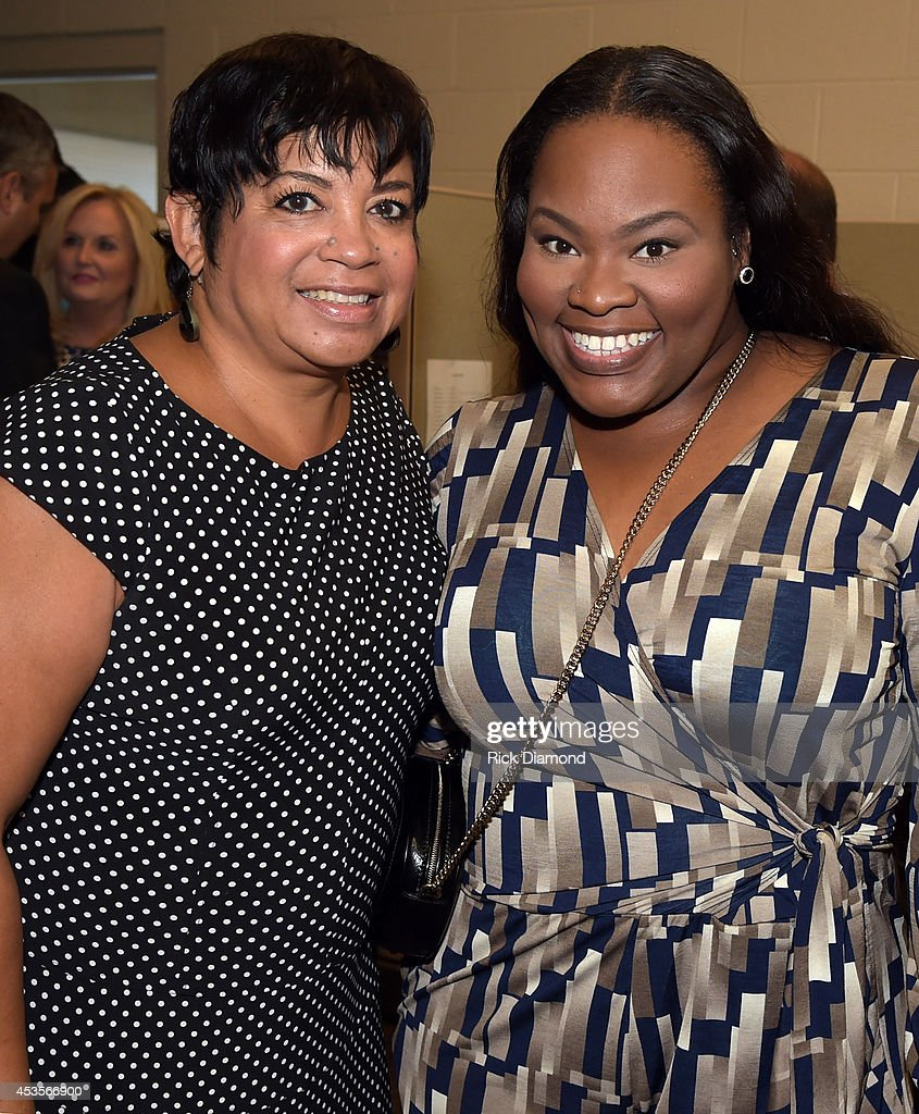 Executine Director GMA Jackie Patillo and Recording Artist Tasha Cobbs during the 45th Annual GMA Dove Awards Nominations Press Conference at Allen Arena on Lipscomb University campus, August 13, 2014 in Nashville, Tennessee.