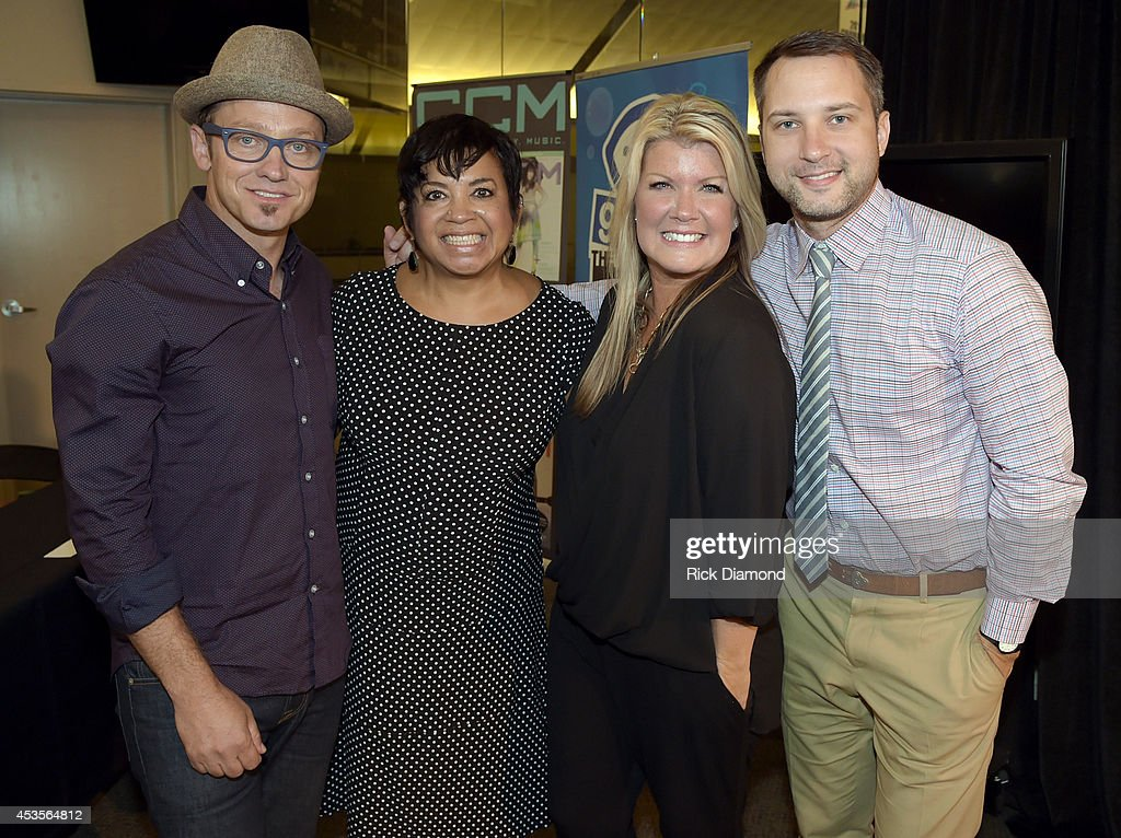 Executine Director GMA Jackie Patillo (2nd from left) joins Recording Artists <a gi-track='captionPersonalityLinkClicked' href=/galleries/search?phrase=TobyMac&family=editorial&specificpeople=4649368 ng-click='$event.stopPropagation()'>TobyMac</a>, <a gi-track='captionPersonalityLinkClicked' href=/galleries/search?phrase=Natalie+Grant&family=editorial&specificpeople=648456 ng-click='$event.stopPropagation()'>Natalie Grant</a> and Brandon Heath during the 45th Annual GMA Dove Awards Nominations Press Conference at Allen Arena on Lipscomb University campus, August 13, 2014 in Nashville, Tennessee.