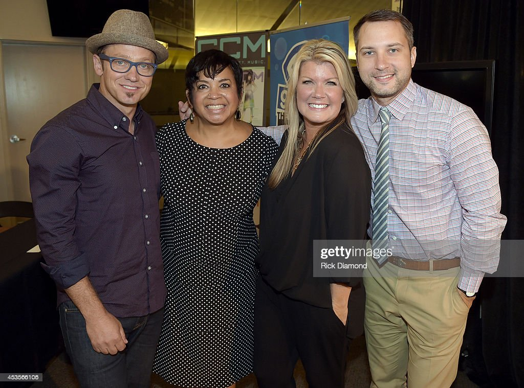 Executine Director GMA Jackie Patillo (2nd from left) joins Recording Artists TobyMac, Natalie Grant and Brandon Heath during the 45th Annual GMA Dove Awards Nominations Press Conference at Allen Arena on Lipscomb University campus, August 13, 2014 in Nashville, Tennessee.